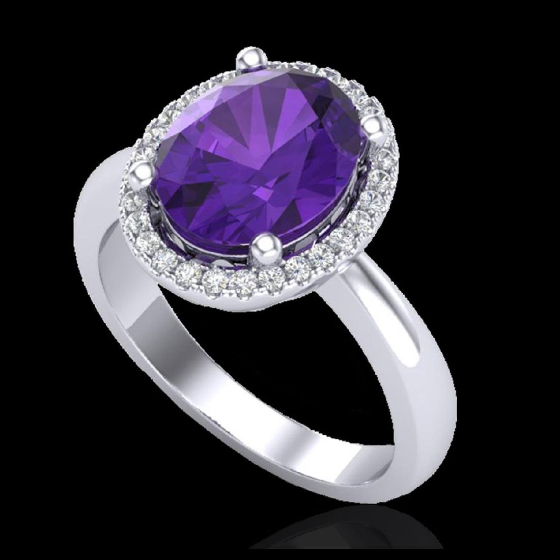 2.50 CTW Amethyst And Micro Pave VS/SI Diamond Ring - 2