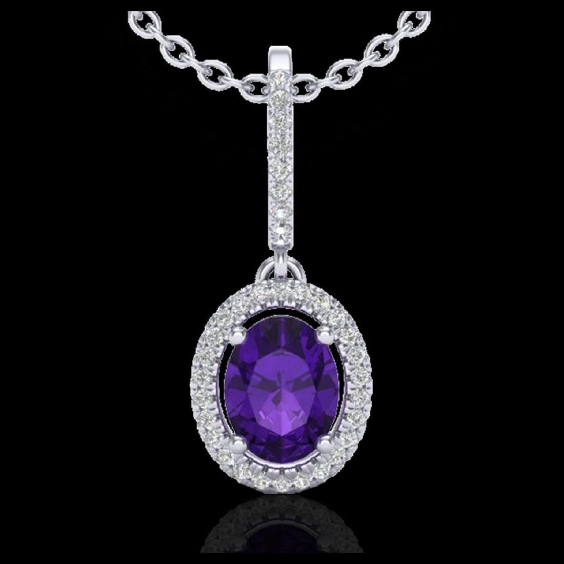 1.75 CTW Amethyst & Micro Pave VS/SI Diamond Necklace