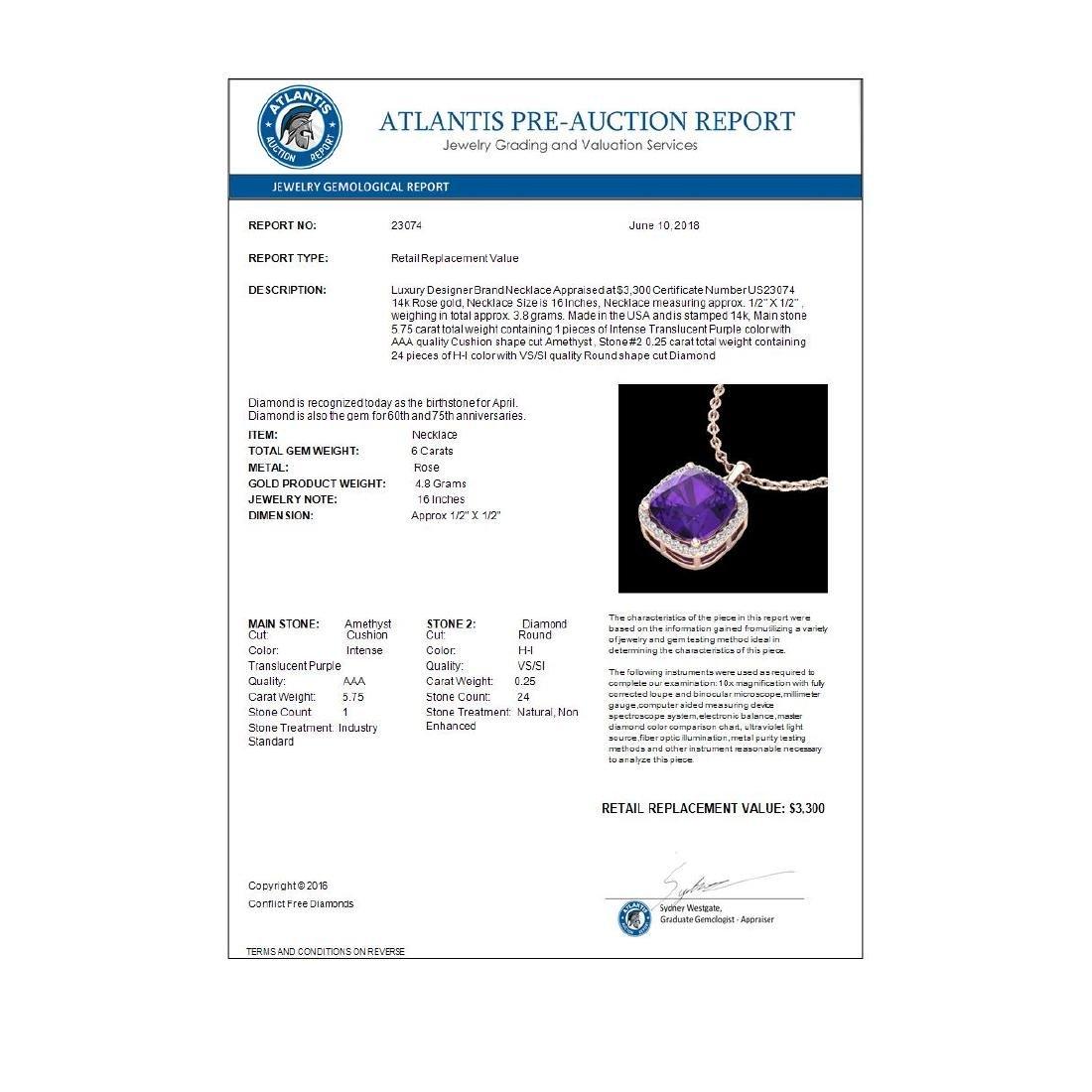 6 CTW Amethyst & Micro Pave Halo VS/SI Diamond Necklace - 3