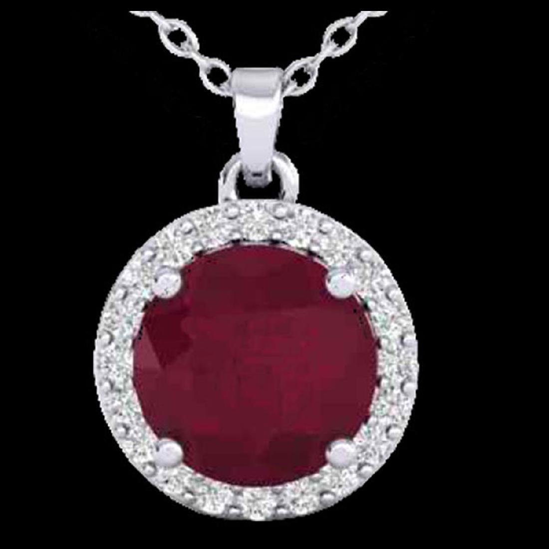 2 CTW Ruby & Halo VS/SI Diamond Micro Pave Necklace - 2