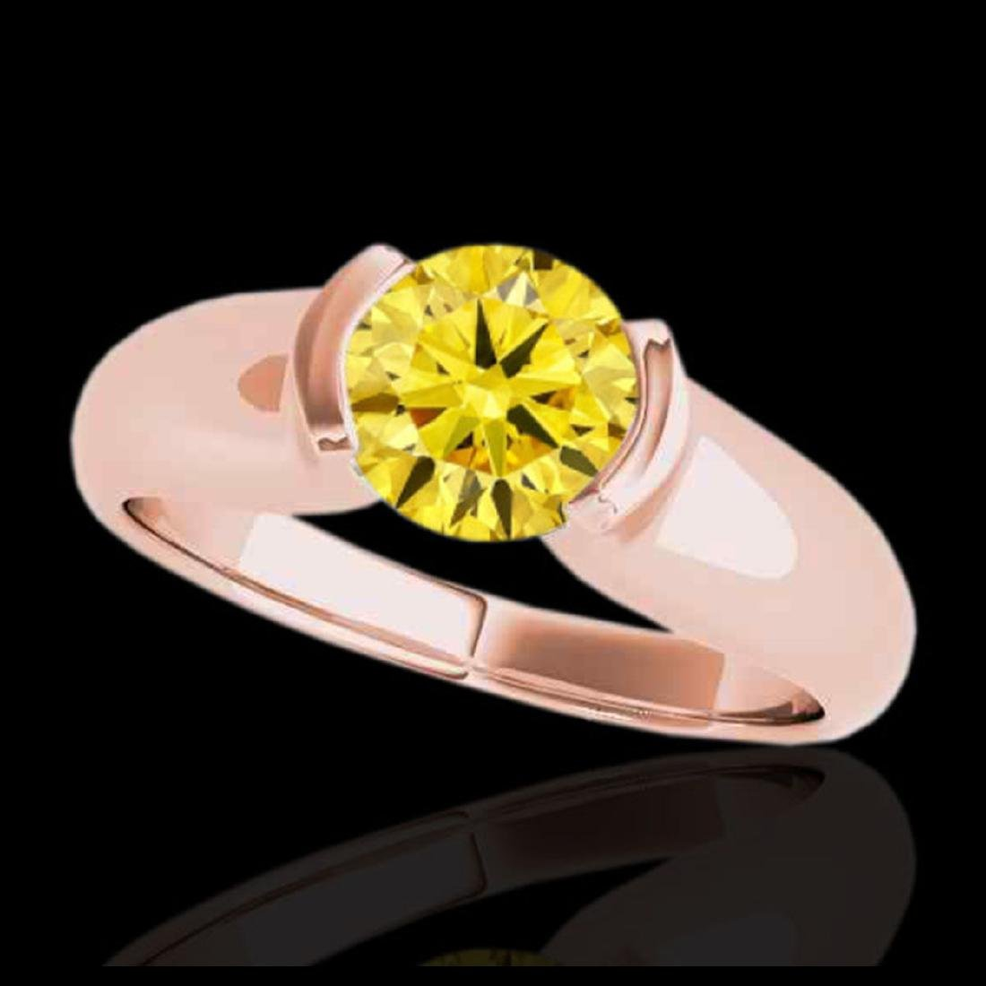 1 CTW SI/I Fancy Intense Yellow Diamond Solitaire Ring