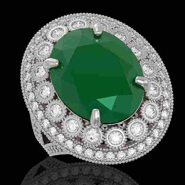 1385 CTW Emerald Diamond Victorian Ring 14K White