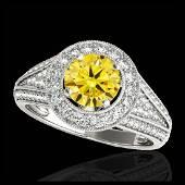 217 CTW SII Fancy Intense Yellow Diamond Halo Ring