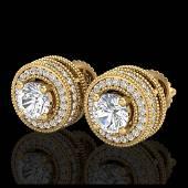 209 CTW VSSI Diamond Solitaire Stud Earrings 18K Gold