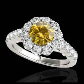 235 CTW SII Fancy Intense Yellow Diamond Halo Ring