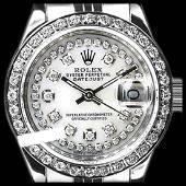 Rolex Ladies Stainless Steel Diamond Dial Diamond