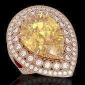 1738 CTW Canary Citrine Diamond Ring 14K Rose Gold