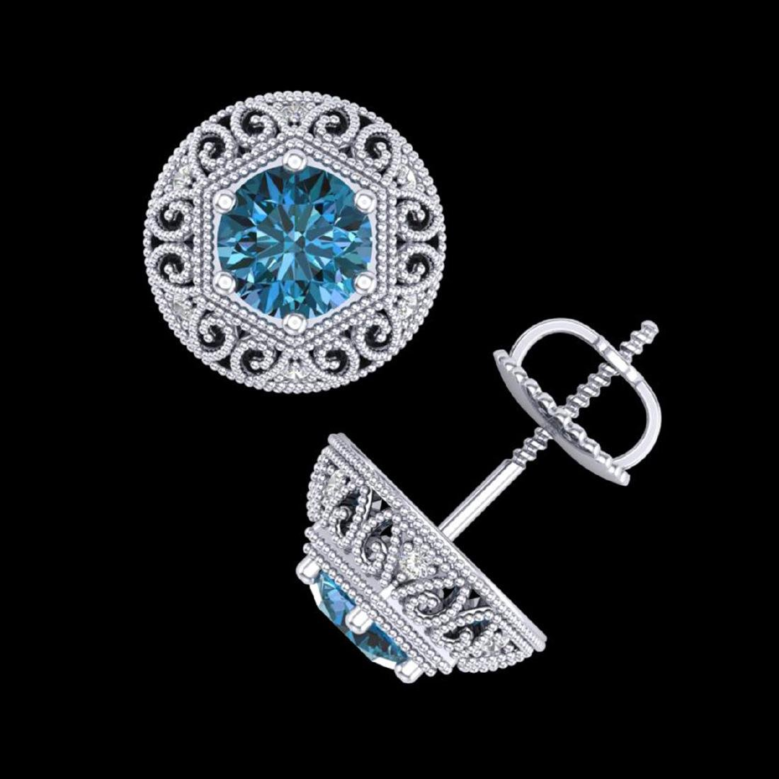1.31 CTW Fancy Intense Blue Diamond Stud Earrings 18K - 3