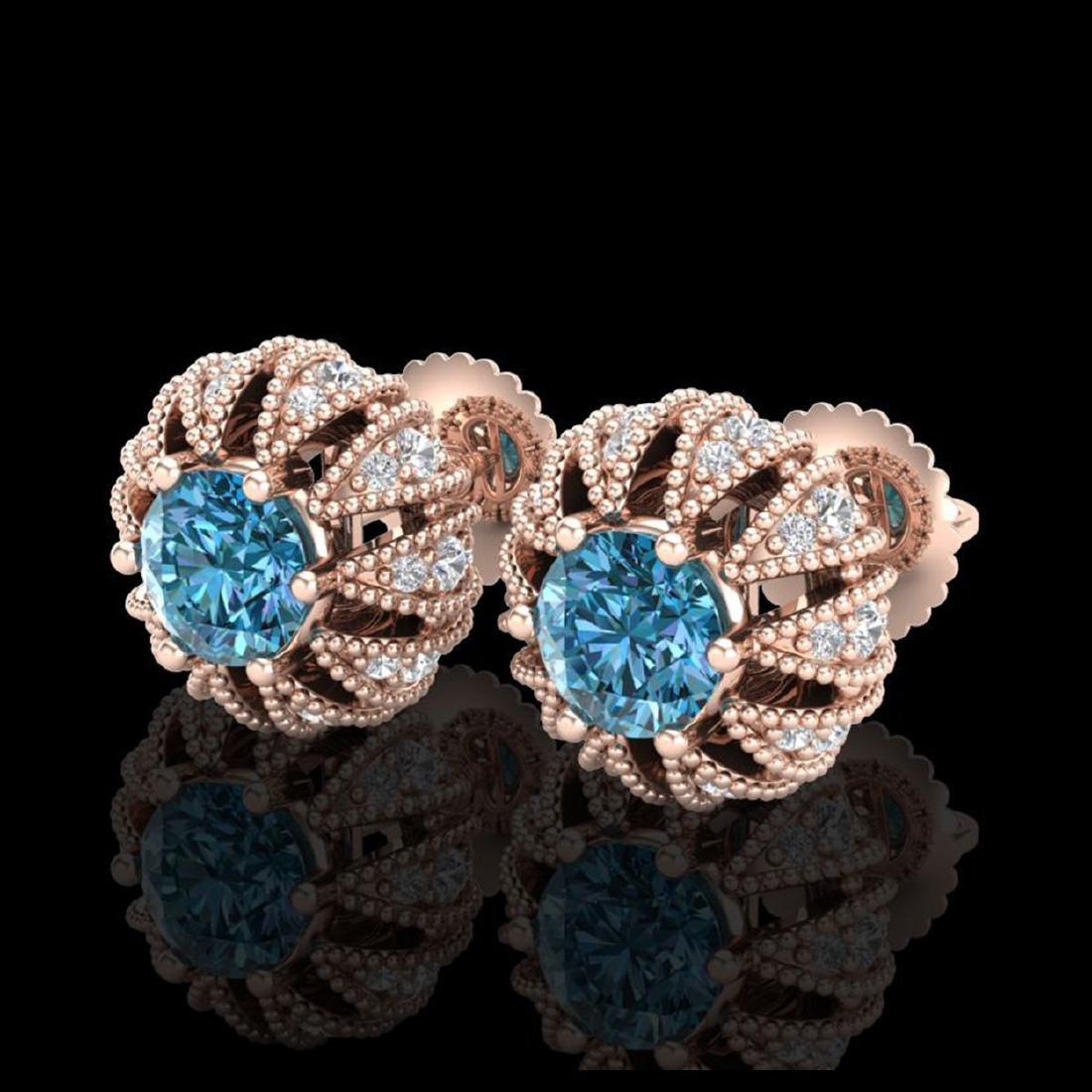 2.01 CTW Fancy Intense Blue Diamond Stud Earrings 18K