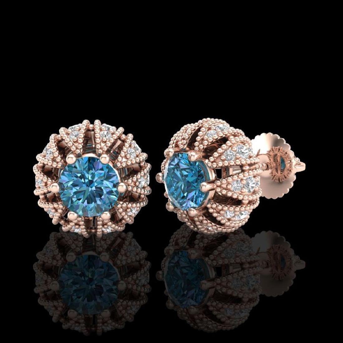 2.01 CTW Fancy Intense Blue Diamond Stud Earrings 18K - 2
