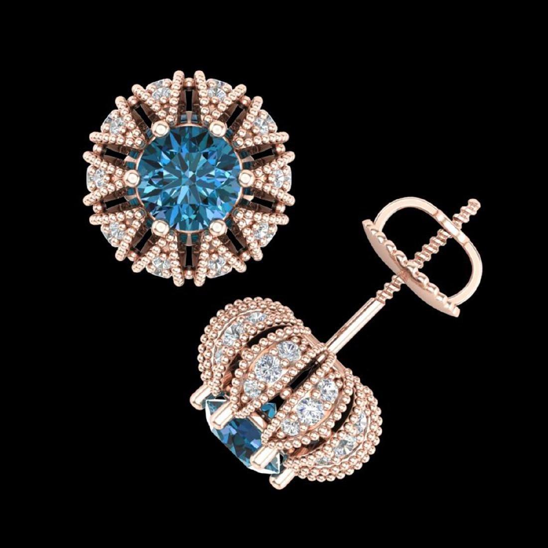 2.01 CTW Fancy Intense Blue Diamond Stud Earrings 18K - 3