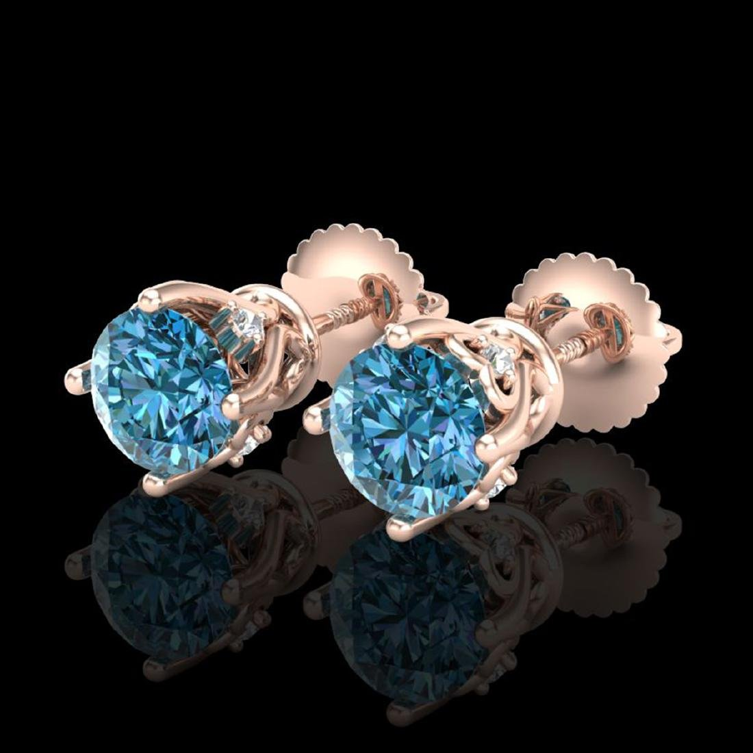 1.26 CTW Fancy Intense Blue Diamond Stud Earrings 18K