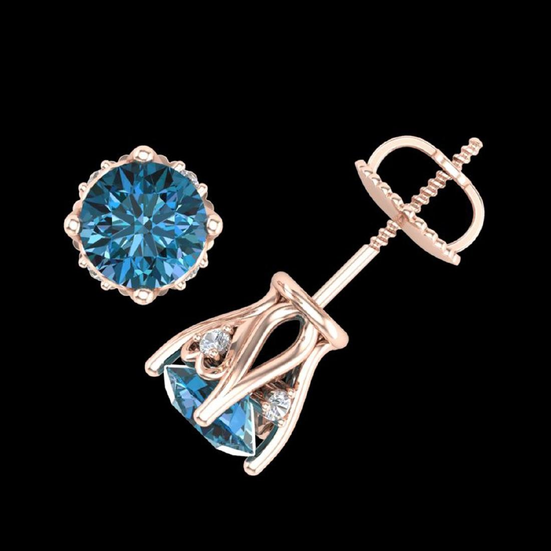 1.26 CTW Fancy Intense Blue Diamond Stud Earrings 18K - 3