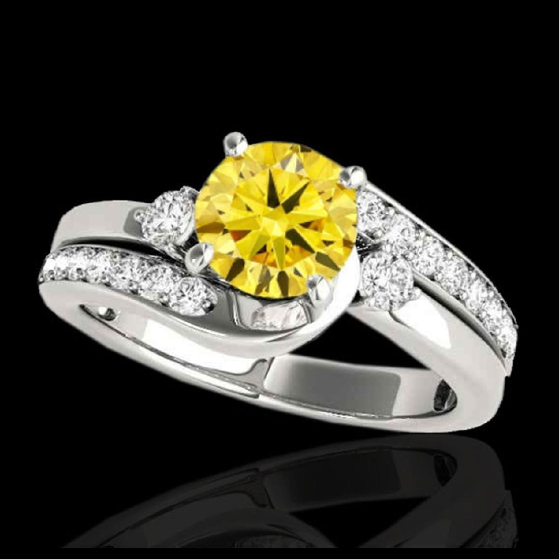 2 CTW SI/I Fancy Intense Yellow Diamond Bypass Ring