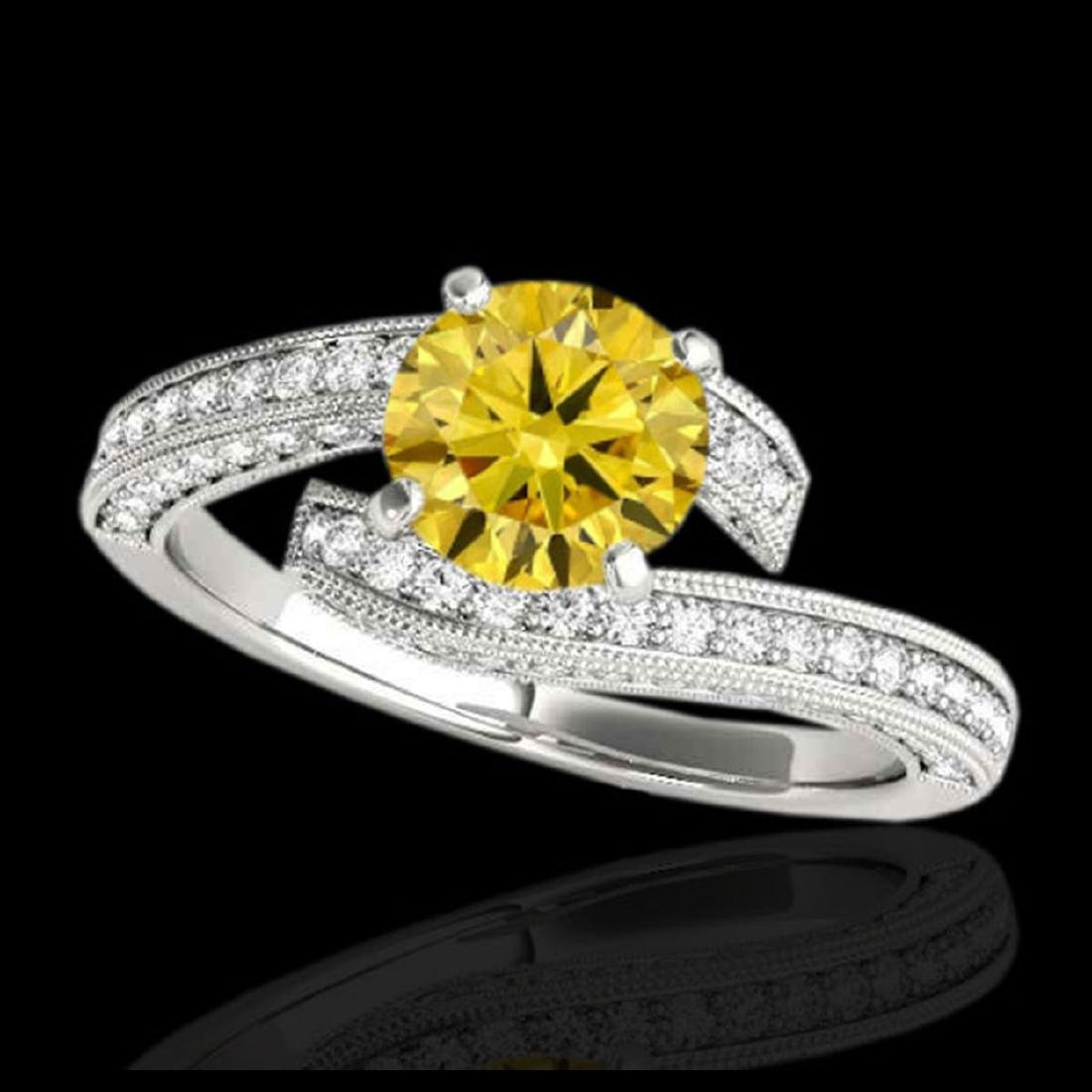 2 CTW SI/I Fancy Intense Yellow Diamond Bypass Ring