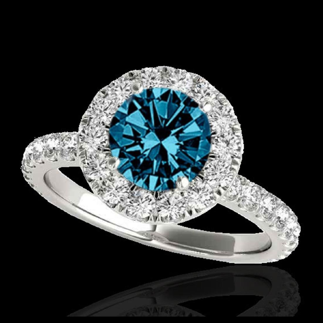 2 CTW SI Fancy Blue Diamond Solitaire Halo Ring Gold -
