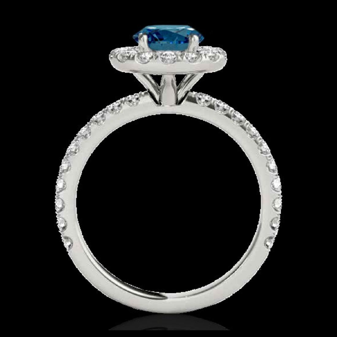2 CTW SI Fancy Blue Diamond Solitaire Halo Ring Gold - - 2