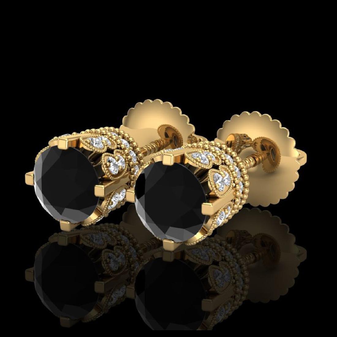 3 CTW Fancy Black Diamond Solitaire Stud Earrings 18K