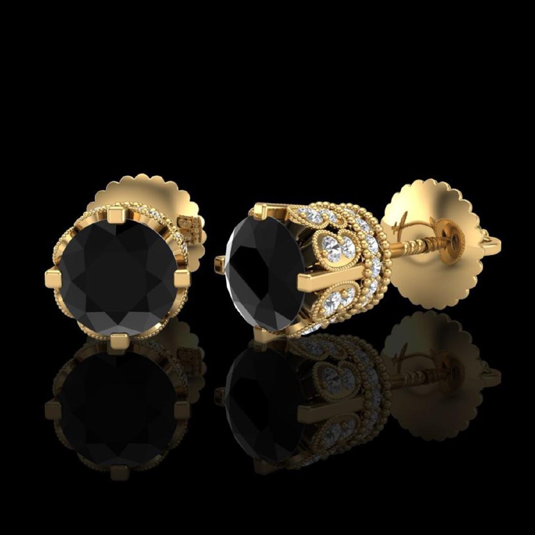 3 CTW Fancy Black Diamond Solitaire Stud Earrings 18K - 2