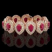 5604 CTW Ruby  Diamond Victorian Bracelet 14K Rose