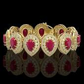 5604 CTW Ruby  Diamond Victorian Bracelet 14K Yellow