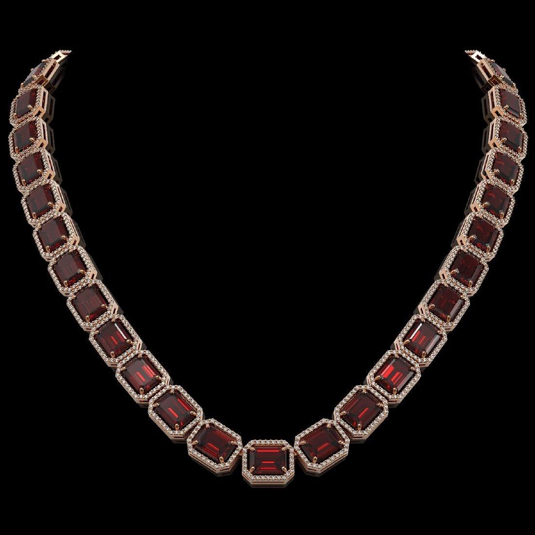 73.44 CTW Garnet & Diamond Halo Necklace Rose Gold -