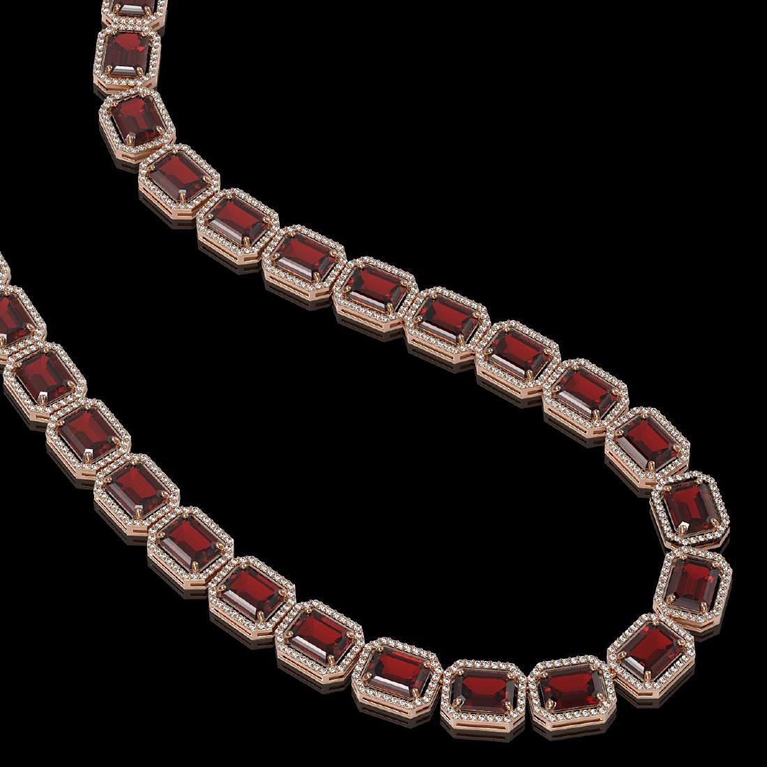 73.44 CTW Garnet & Diamond Halo Necklace Rose Gold - - 2