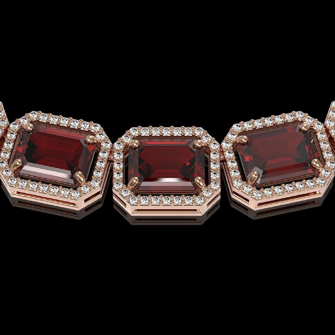 73.44 CTW Garnet & Diamond Halo Necklace Rose Gold - - 3