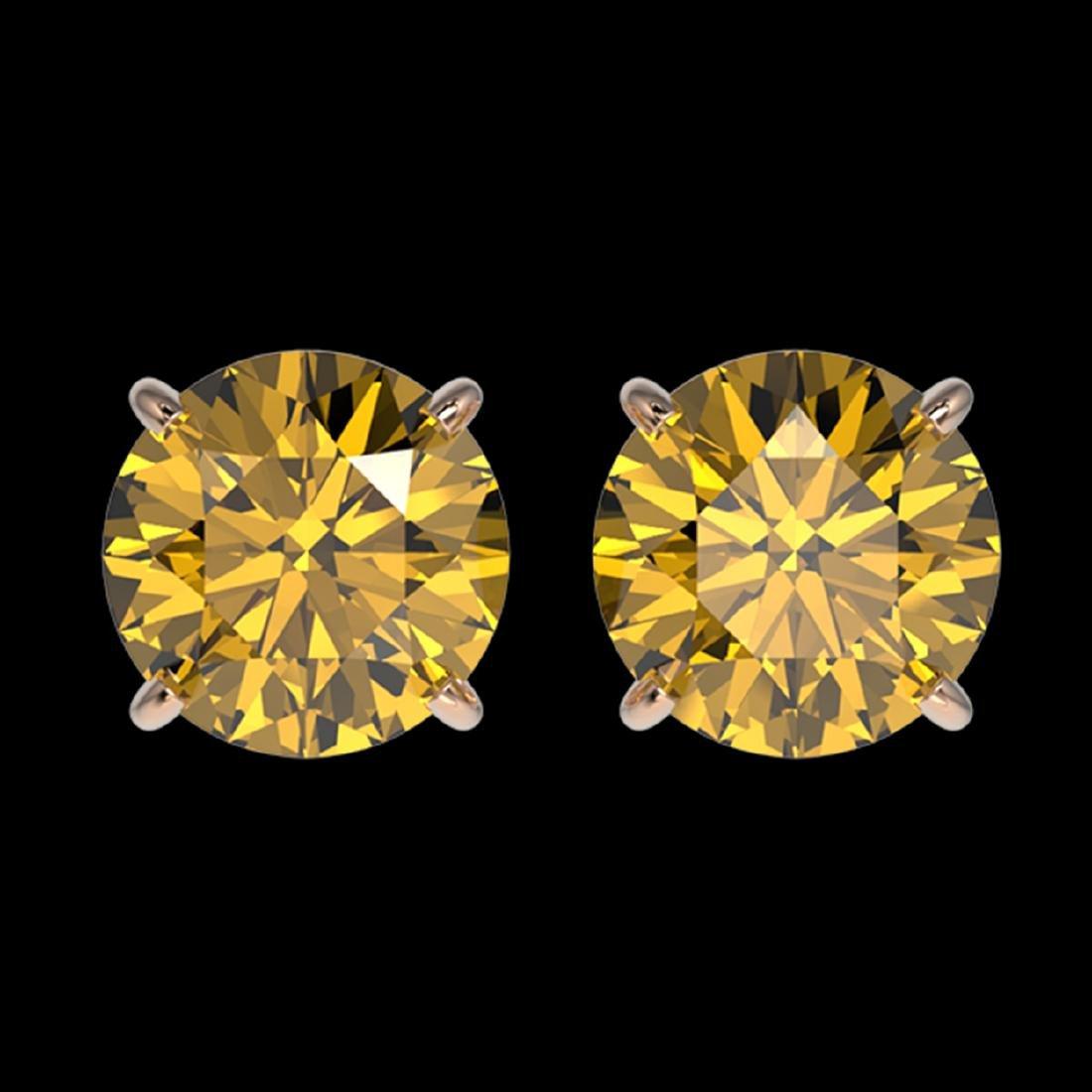 1.97 CTW Intense Yellow SI Diamond Stud Earrings Gold -