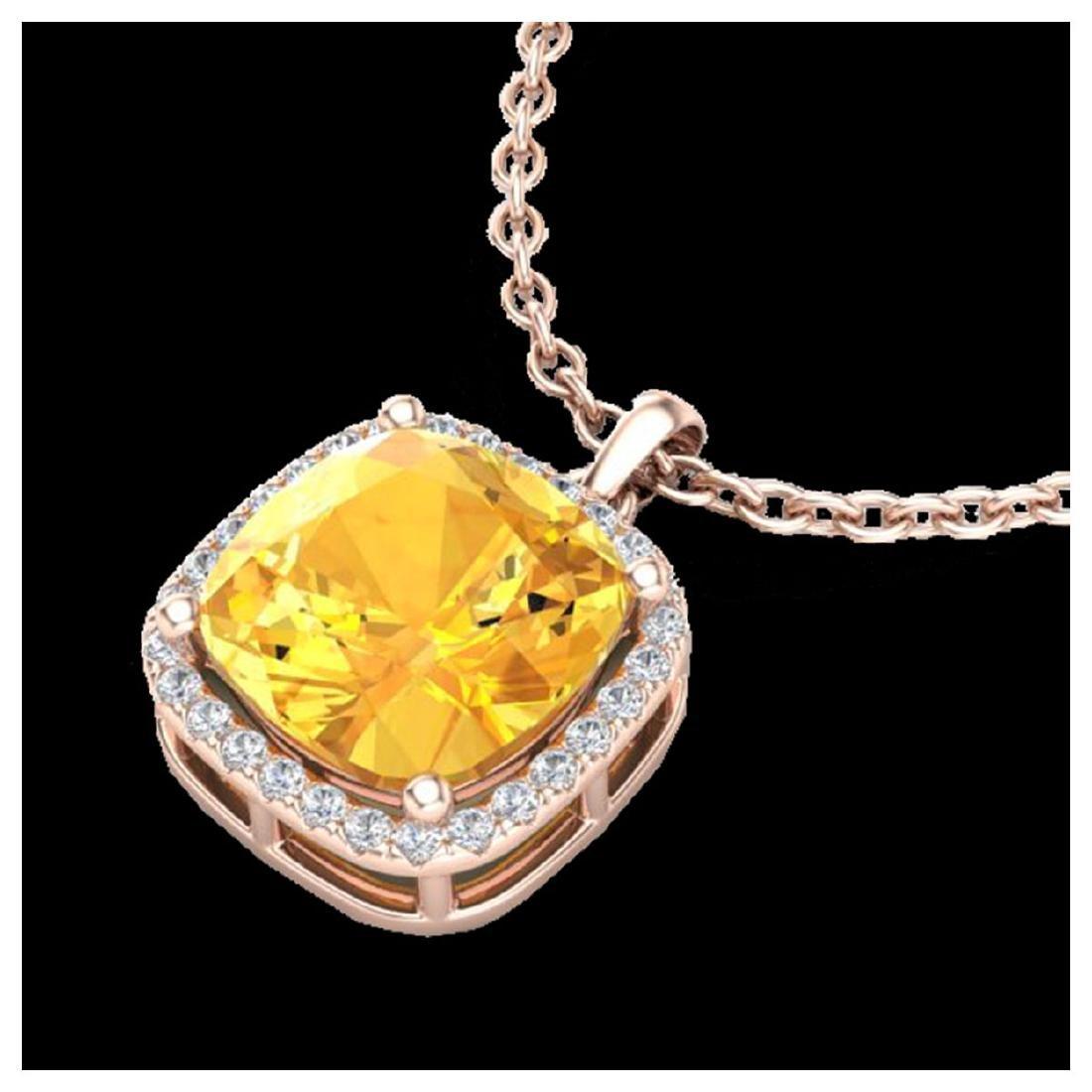 6 CTW Citrine & Halo VS/SI Diamond Necklace 14K Gold -