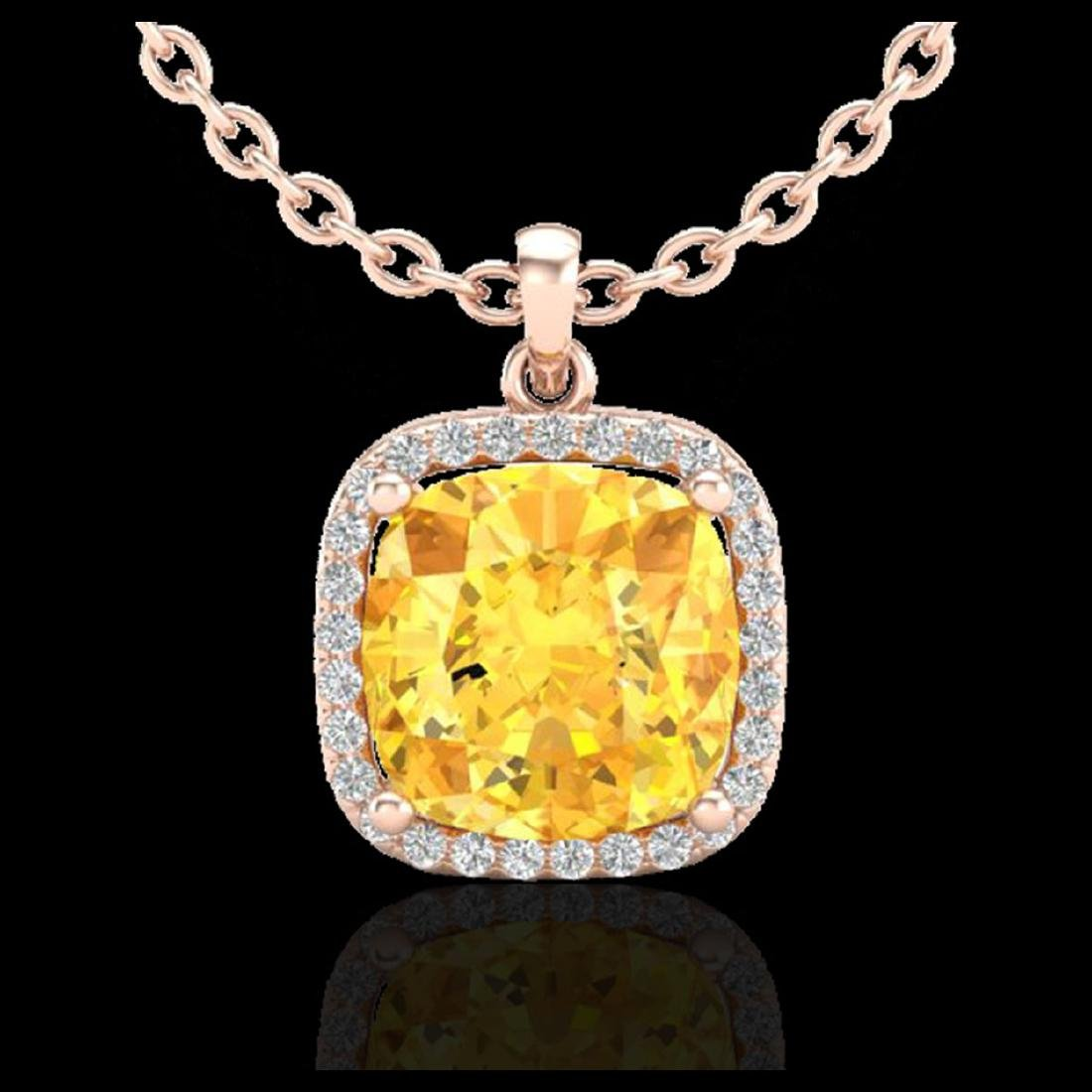 6 CTW Citrine & Halo VS/SI Diamond Necklace 14K Gold - - 2