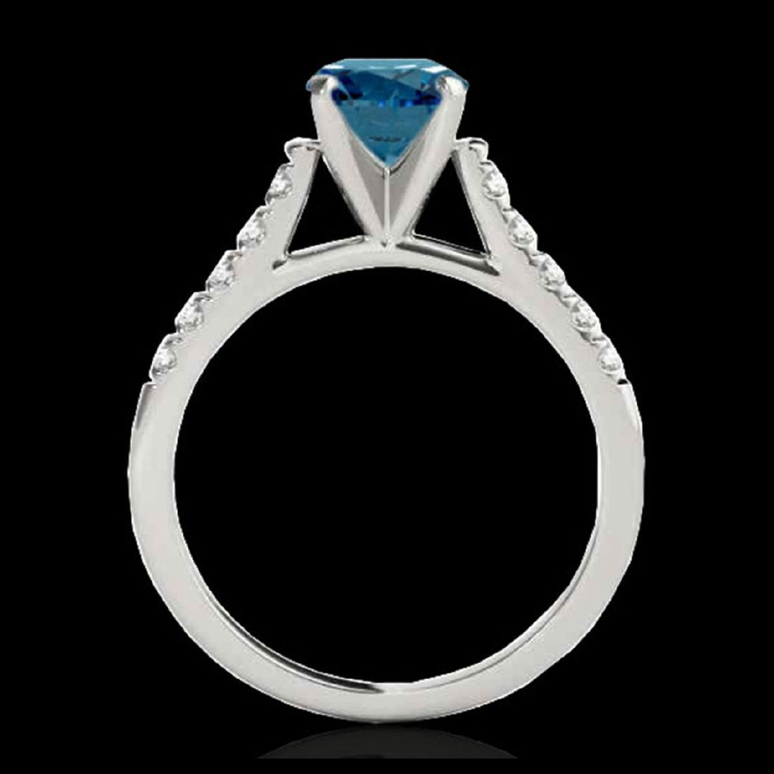 1.20 CTW SI Fancy Blue Diamond Solitaire Ring Gold - - 2