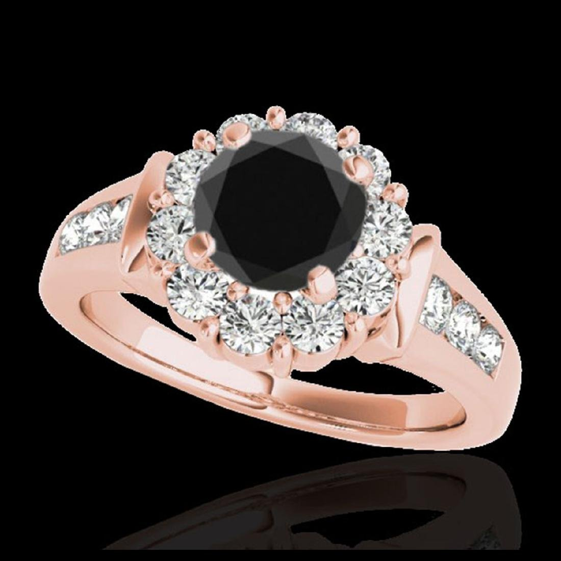 1.90 CTW VS Black Diamond Solitaire Halo Ring Gold -
