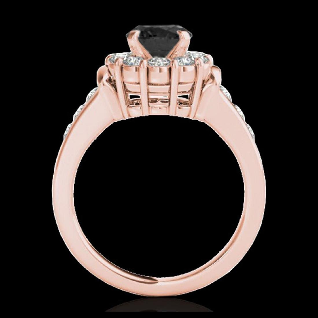 1.90 CTW VS Black Diamond Solitaire Halo Ring Gold - - 2
