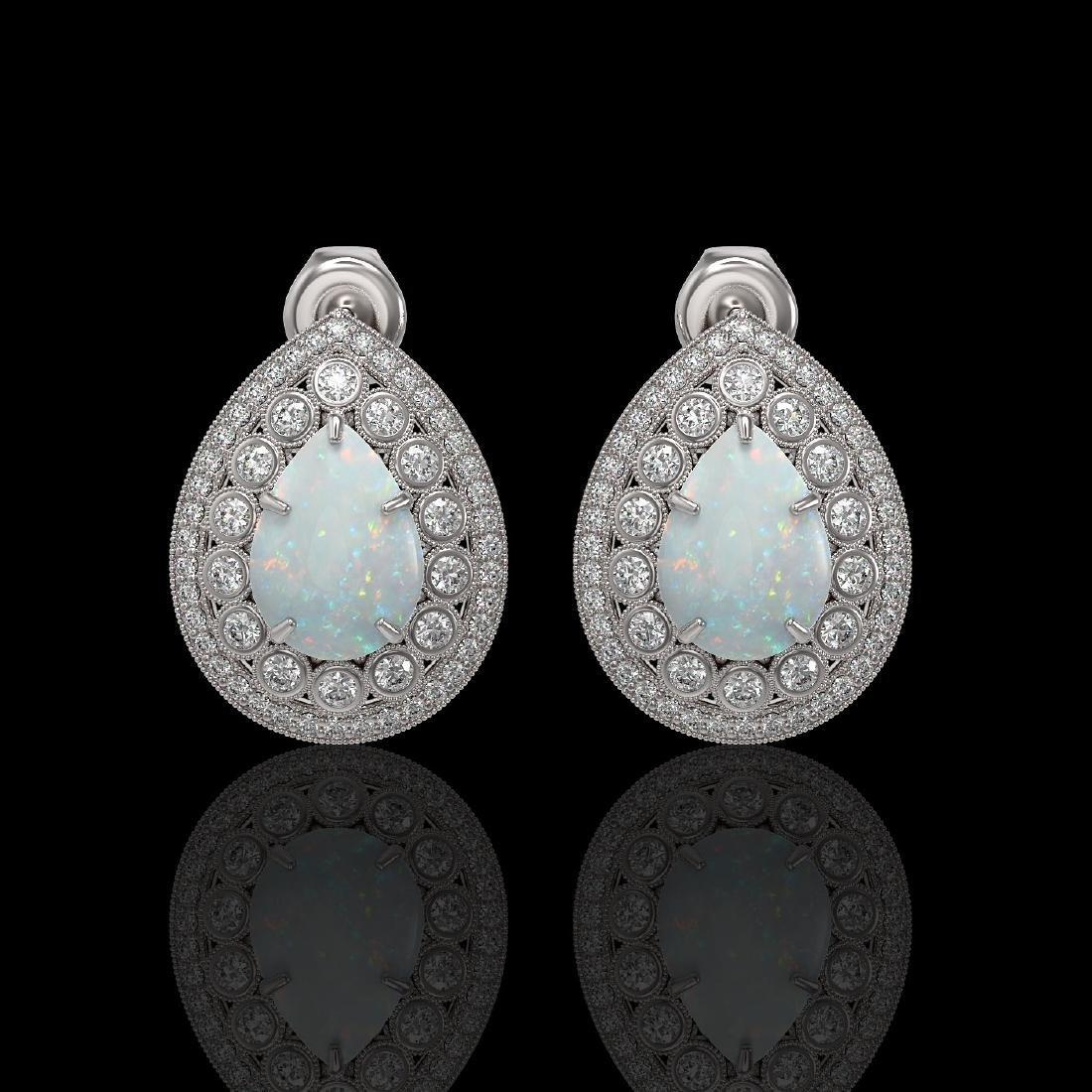 7.88 CTW Opal & Diamond Victorian Earrings 14K White
