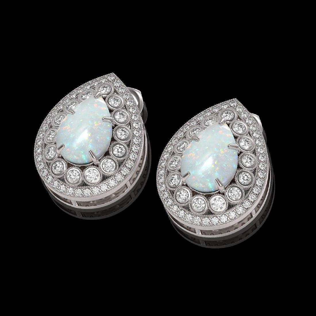 7.88 CTW Opal & Diamond Victorian Earrings 14K White - 2