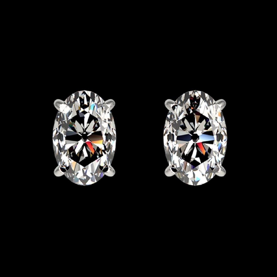 1 CTW VS/SI Quality Oval Diamond Stud Earrings Gold -