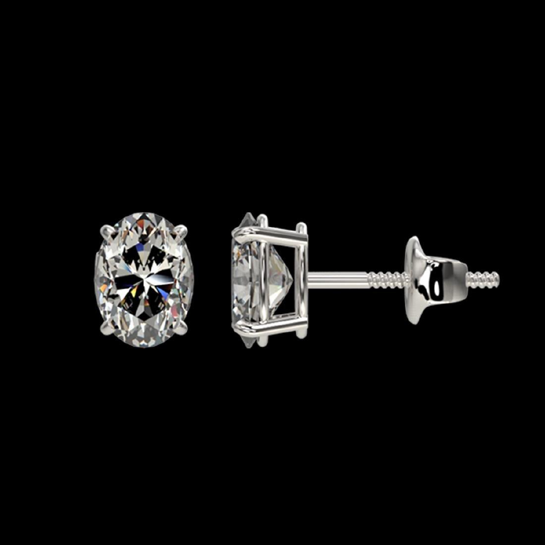 1 CTW VS/SI Quality Oval Diamond Stud Earrings Gold - - 2