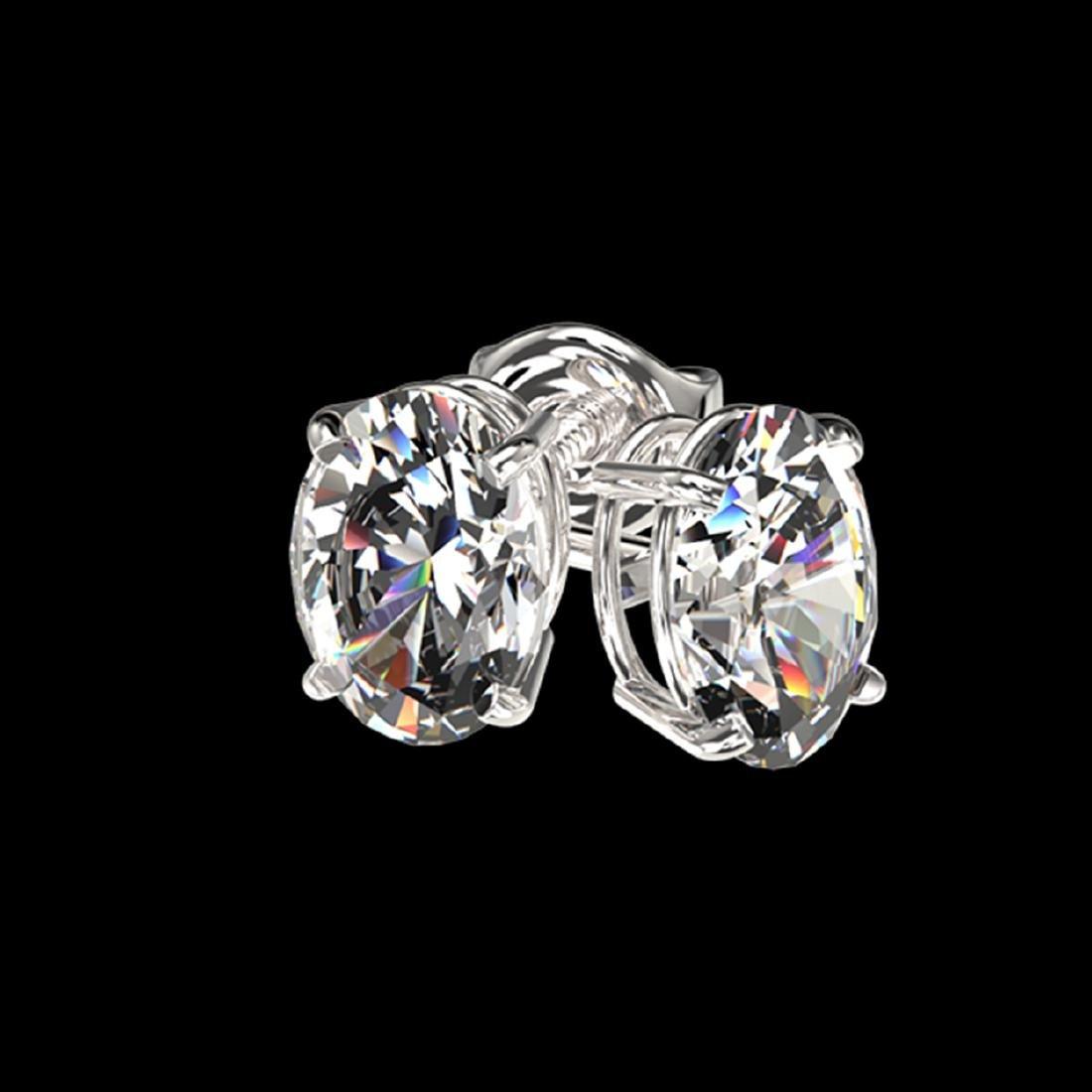 1 CTW VS/SI Quality Oval Diamond Stud Earrings Gold - - 3