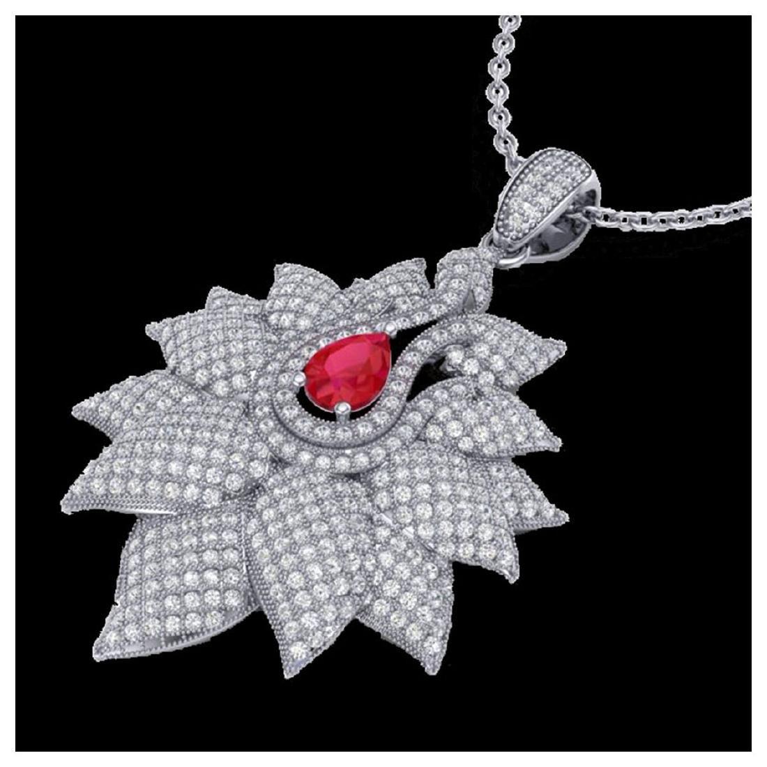 3 CTW Ruby & VS/SI Diamond Necklace 18K Gold -