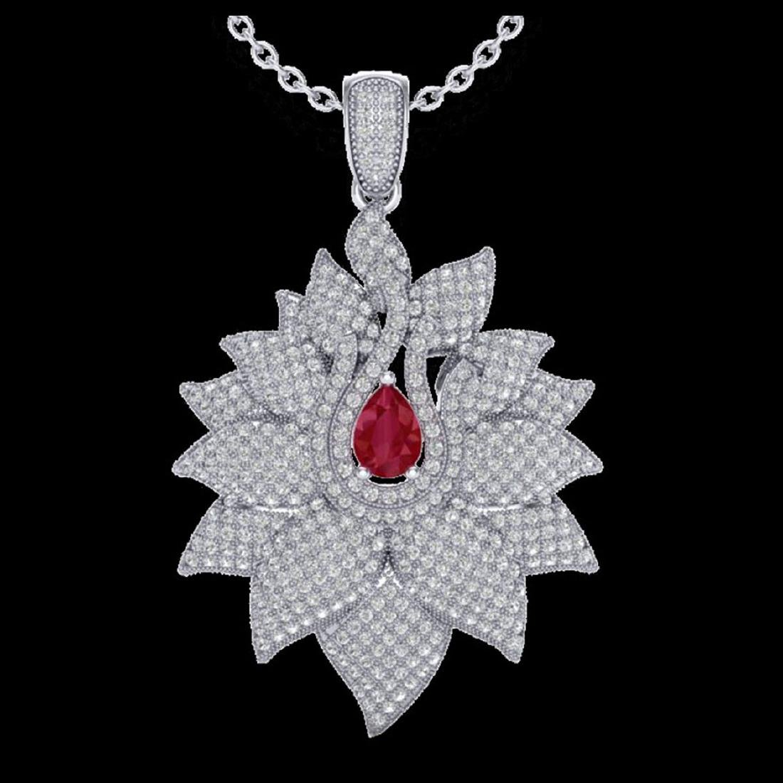 3 CTW Ruby & VS/SI Diamond Necklace 18K Gold - - 2