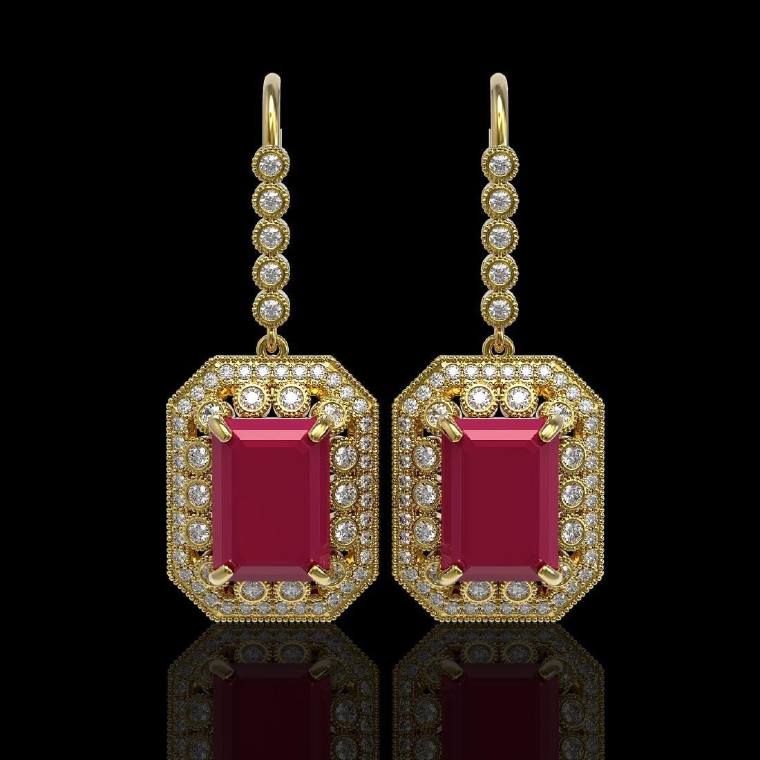 23.79 CTW Ruby & Diamond Victorian Earrings 14K Yellow