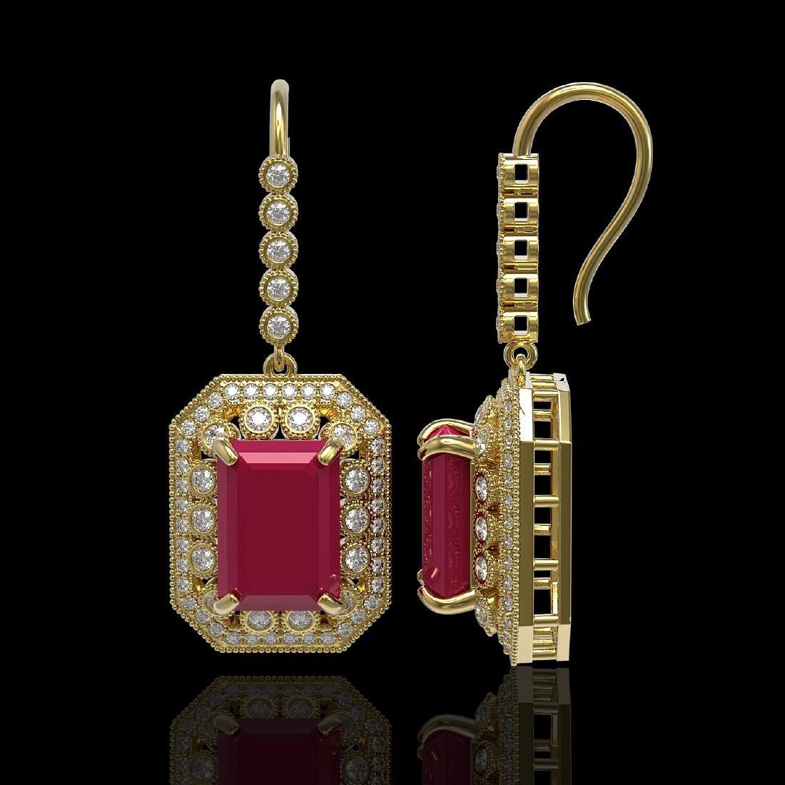 23.79 CTW Ruby & Diamond Victorian Earrings 14K Yellow - 2