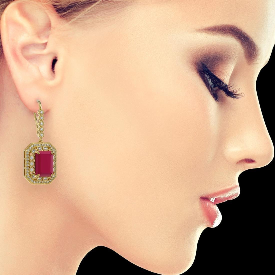 23.79 CTW Ruby & Diamond Victorian Earrings 14K Yellow - 3