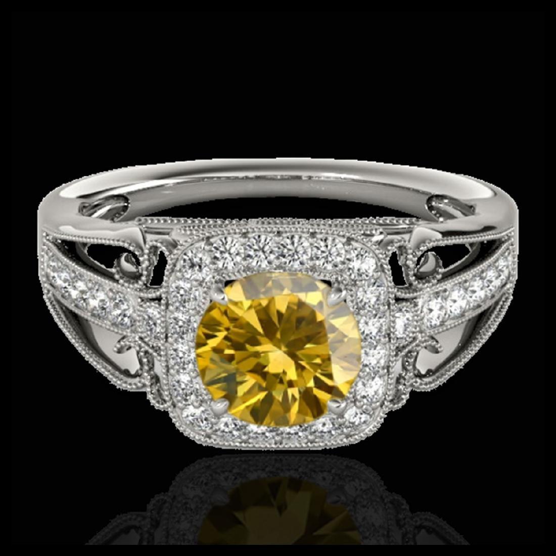 1.30 CTW SI/I Fancy Intense Yellow Diamond Halo Ring