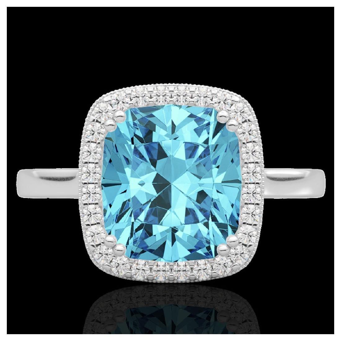 3.50 CTW Sky Blue Topaz & VS/SI Diamond Halo Ring 18K