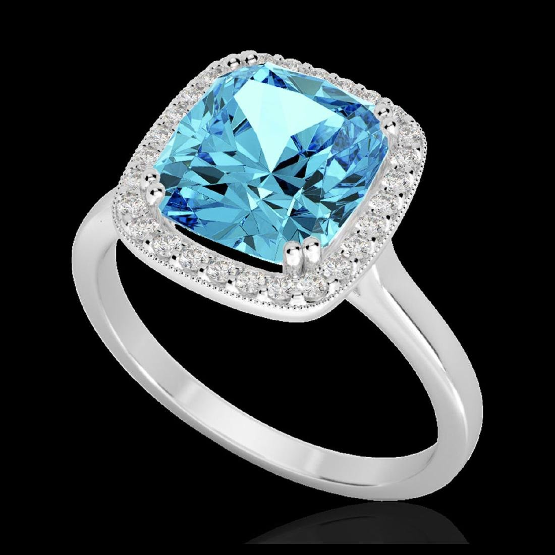 3.50 CTW Sky Blue Topaz & VS/SI Diamond Halo Ring 18K - 2