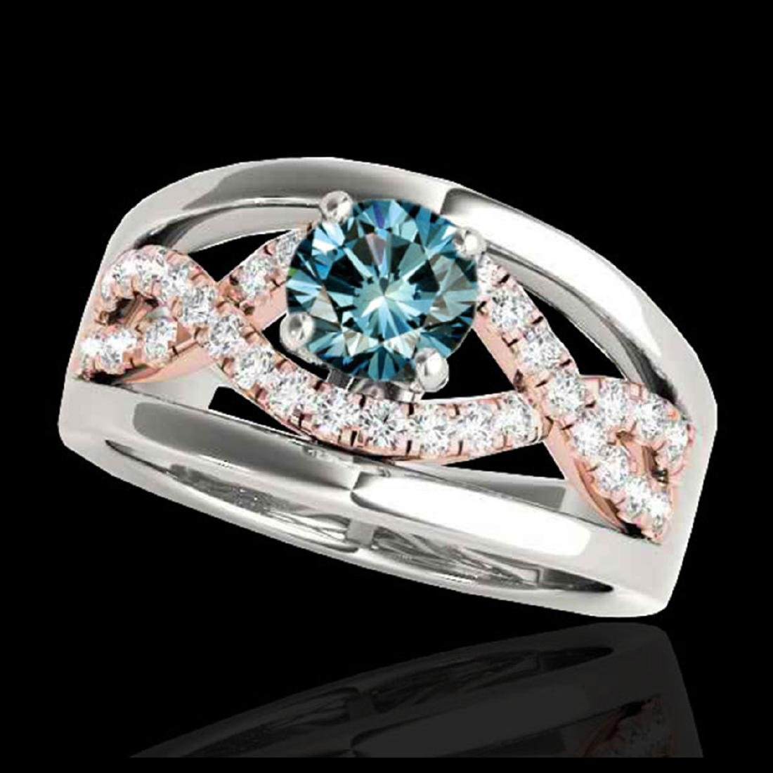 1.55 CTW SI Blue Diamond Solitaire Ring Gold -