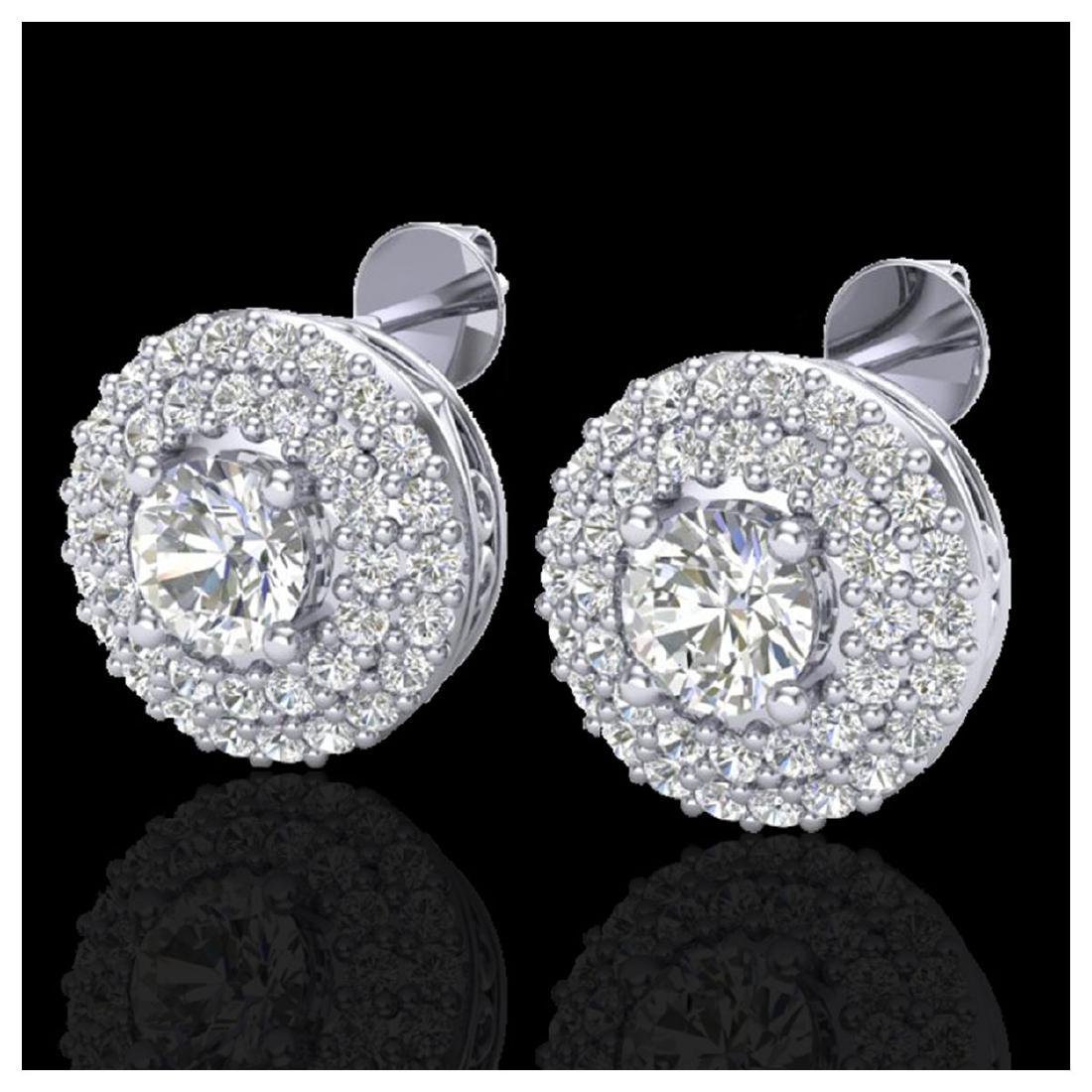 1.20 CTW VS/SI Diamond Earrings 18Kdouble Halo Gold -