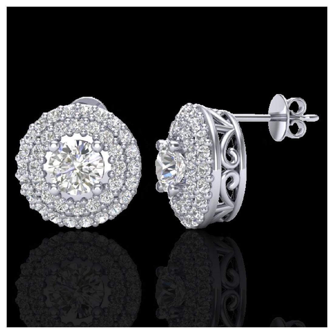 1.20 CTW VS/SI Diamond Earrings 18Kdouble Halo Gold - - 2